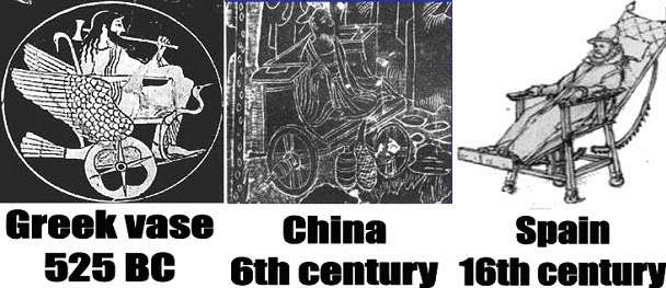 3 images of ancient wheelchairs: Art on a Greek vase (525 BC), China (6th century), Spain (16th century).