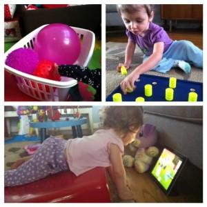 3 Photos: 1. textured balls; 2. High-contrast peg board. 3. toddler using wedge