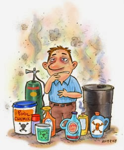 cartoon picture of a man looking sick surrounded by toxic chemicals