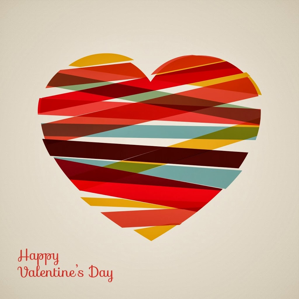image of a heart made out of different colored tape and it says Happy Valentine's Day on the bottom.