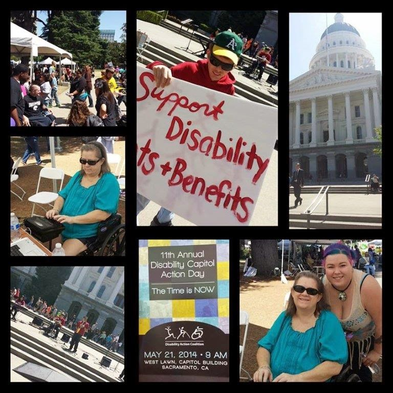 collage of pictures of dcad 2014, Rhett providing captioning, a man with a sign that says support disability rights and benefits and Rhett's daughter with blue and purple hair