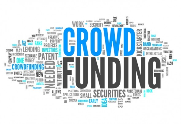 word bank image with crowd funding large and centered