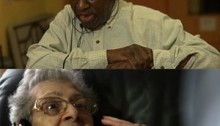 top picture of an elderly black gentlemen with headphones on and an expressive expression and the bottom a latina older woman with the same look