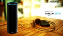 picture of a wooden table with headphones and an amazon speaker - the echo sitting on it