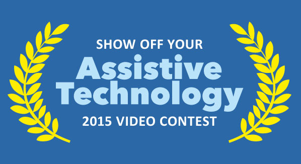 logo of AT video contest: says show off your Assistive Technology 2015 video contest with side yellow leaves framing it