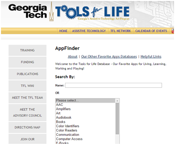 screenshot capture of the georgia tech appfinder page which show a search bar and various AT potions such as AAC, art, computer access, etc.
