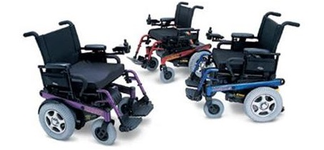 picture of three power wheelchairs