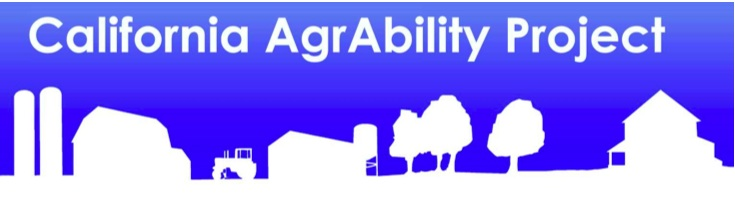 logo calagraability scene of farm in blue background with words california agraability project