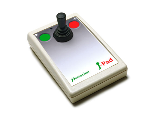 picture of a joy stick with a green button and a red button on either side of the stick on a sqaure pad.