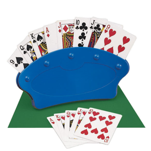 "playing-card-holders blue plastic ""hand"" that holds all the cards for someone."