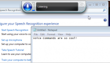 """screenshot of windows speech recognition software with text that says """"voice commands are so cool!"""""""
