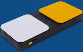picture of Blue2 Switch that has two large sqare buttons, one yellow and one white