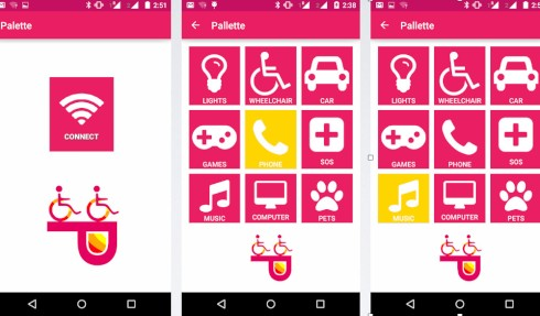 pallette app screenshot which shows nine different icons, a lightbulb, a person using a wheelchair, a car, a controller, a phone a plus sign, a music note , a computer and a paw all in bright pink
