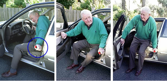 three images of an elderly gentleman using the handy bar as leverage to get out of a seated position in his car