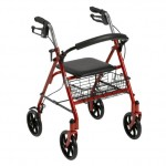 picture of a red rollator walker with a seat and brakes