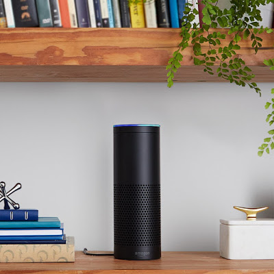 picture of Echo sitting on a book shelf it is a tubular black size of an average speaker