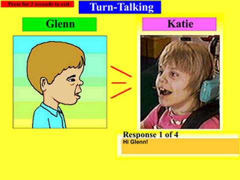turn talking app piture of a cartoon boy Glenn talking to a real little girl Katie
