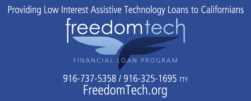 freedomtech logo says: providing low interes AT loans to californians 916.737-5358 freedomtech.org