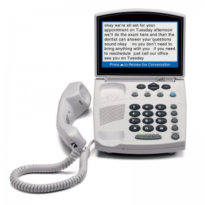 Picture of white caption telephone