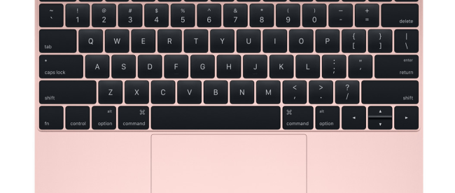 picture of a pink keyboard with black letters
