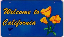 Road sign saying welcome to California with state flower on it.