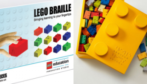 Photo of Braille Bricks box filled with colorful braille brick legos