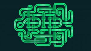 Green and black intertwined graphic spelling out ADHD