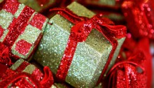 Gold and red glitter presents