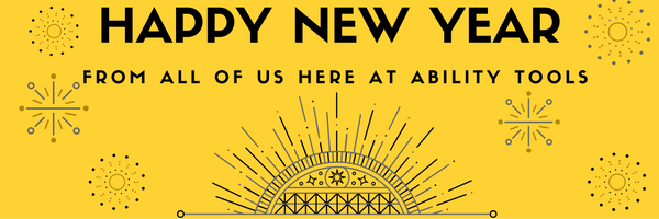 black graphic with gold and silver stars saying happy new year from all of us here