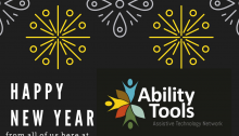 Black graphic with gold and silver stars saying Happy new year from all of us here at Ability tools