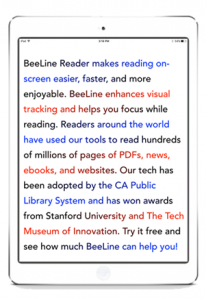 Screen shot of tablet shoeing the progression of colors in the beeline reader text.