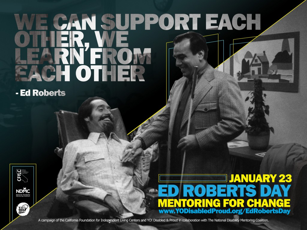 Ed Roberts poster featuring a photo of Ed Roberts shaking hands with blind man in office
