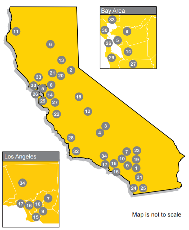 Services map showing where all of California's ILC's are located