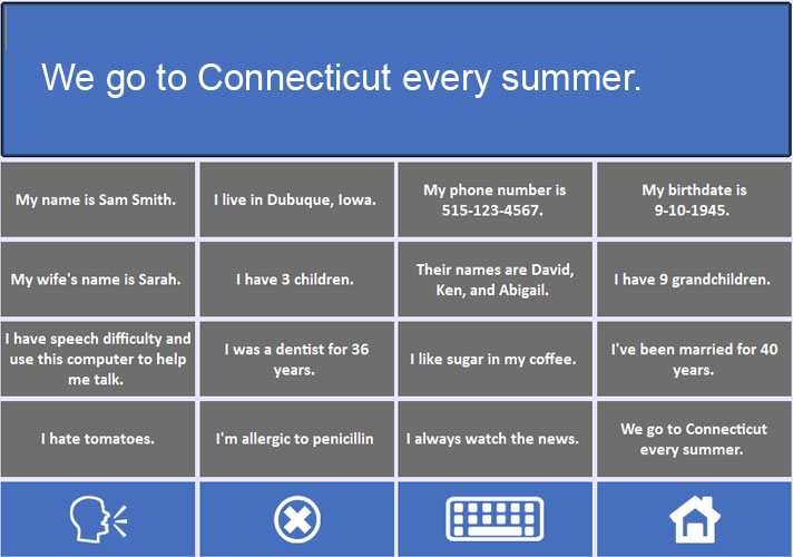 Screenshot  of the Talk to me Tech vocab grid
