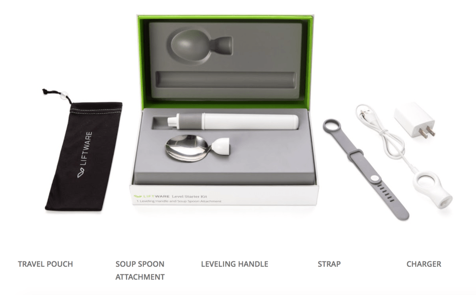 Liftware packaging showing a pouch, spoon attachment, leveling handle, strap, and charger.