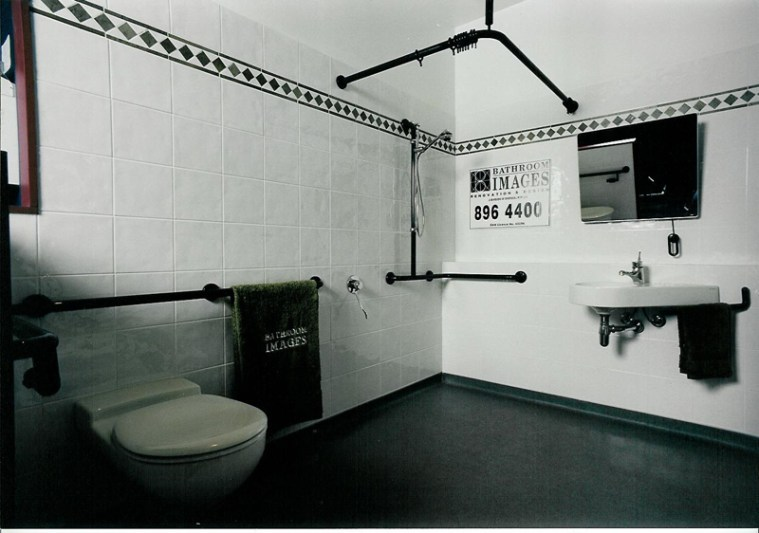black and whiote photo of an accessible bathroom