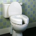 Toilet with large raised cushioned seat cover