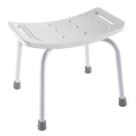 White adjustable shower stool