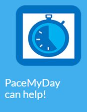 Pace my day app image, blue square image with stopwatch graphic