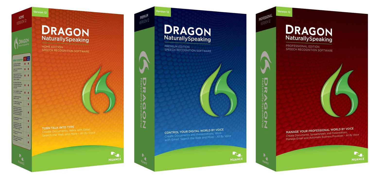 Three colorful boxes that hold the different Dragon Naturally Speaking software. Orange, blue and red boxes