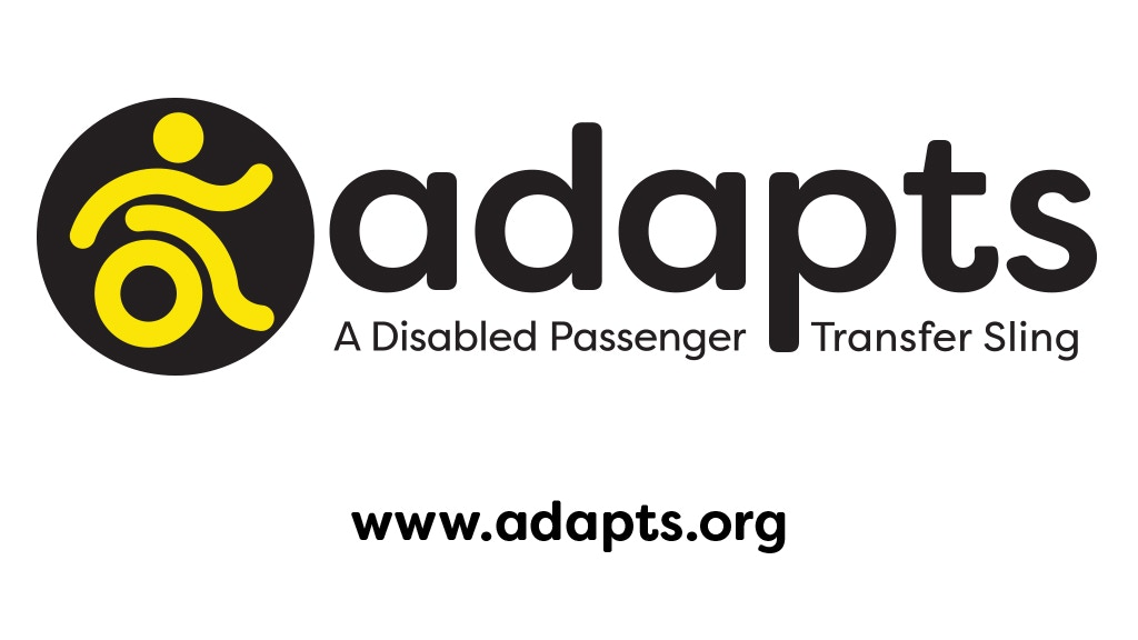 "Photo of the ADAPTS Logo, the text is black and has a figure of a wheelchair user. The text reads ""ADAPTS A Disabled Passenger Transfer Sling"""