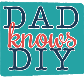 "Teal box with blue and red text reading ""Dad Knows DIY""."