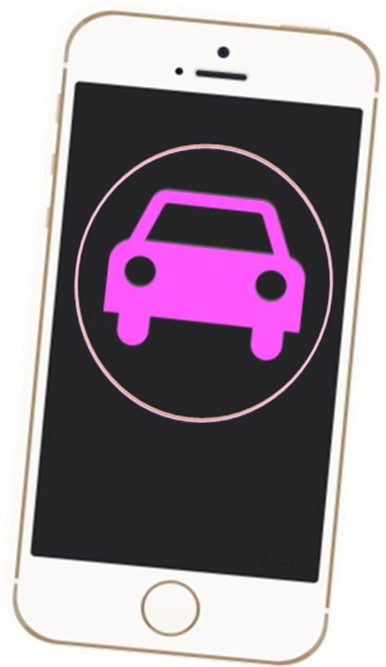 There is a white iPhone. The screen is black and has a pink logo. The logo is round and has a car in the circle.