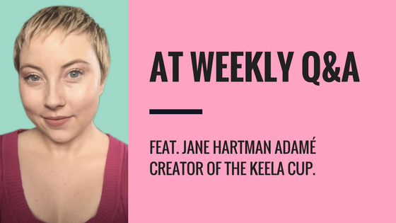 "On the left side of the image is a photo of a young woman with a blonde pixie haircut wearing a magenta sweater. The right side has a light pink background. In large black text it reads ""AT WEEKLY Q&A"". Beneath that in smaller text it reads ""FEAT. JANE HARTTMAN ADAME CREATOR OF THE KEELA CUP""."