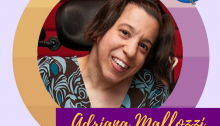 "Photo description: Photo of a woman in a wheelchair smiling and wearing a blue/brown top. The photo is framed in a gold/purple gradient circle. The background is lavender. There is a CFILC logo at the top left corner and a Puffin Innovations logo in the top right corner. The caption reads, ""Adriana Mallozzi"" in gold cursive on a dark purple bar, ""Founder/CEO, Puffin Innovations"" in purple print on a gold bar. #HERstory #DisabledandPowerful"