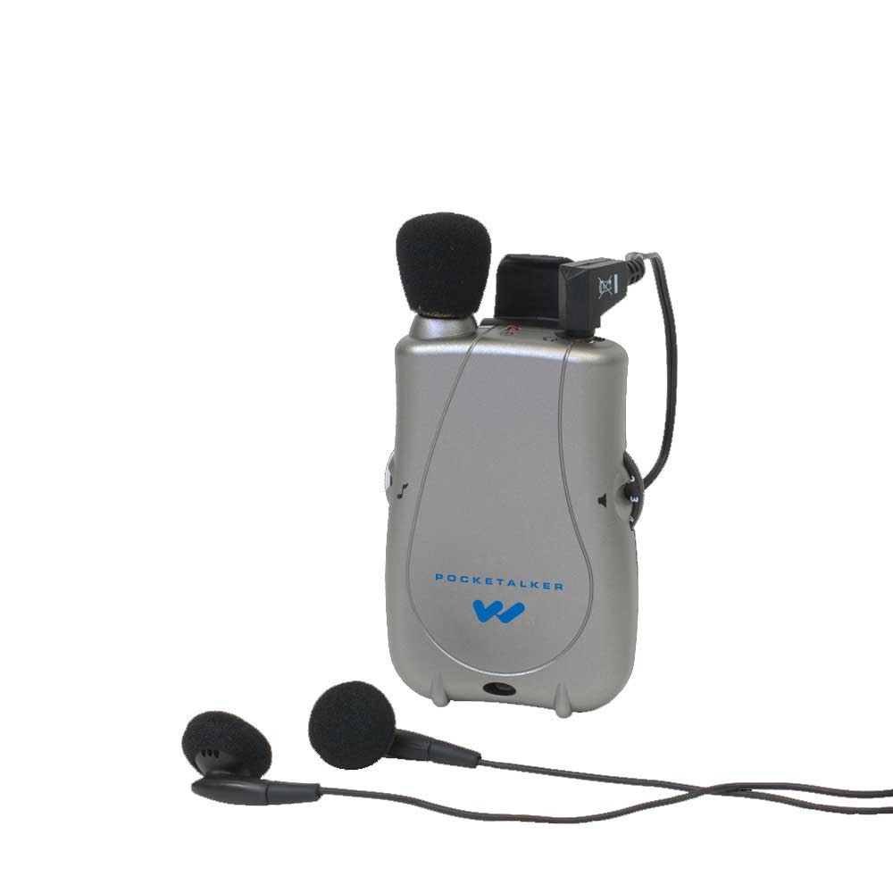 A grey pocket talker with black earbuds attached.
