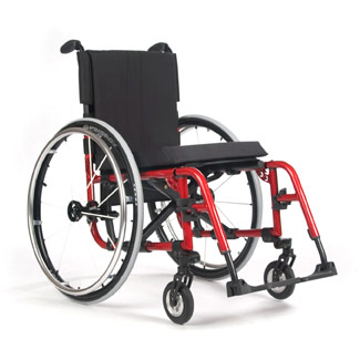 A manual wheelchair with a red frame and black cushions.