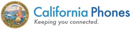 "There is the seal of the state of California on the left. In large blue text it reads ""California Phones"", beneath this it says ""Keeping you connected""."