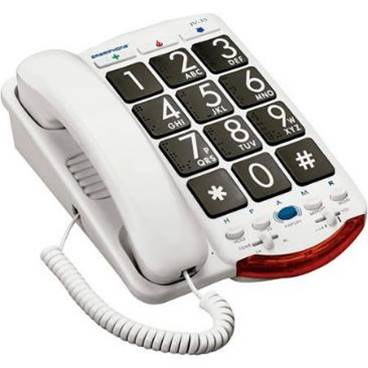 A phone available through the program. It is white and has very large buttons