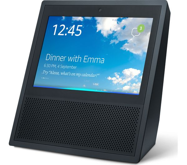 The Amazon Echo Show, it is a device with a 7 inch screen and speaker, it is displaying the weather forecast.